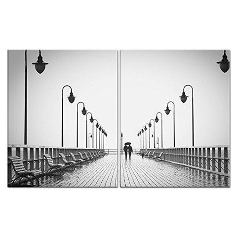 Wall Canvas Painting Art | 2 Panels, Split Painting | Couple Walking in Rain Painting for Living Room Wall Art Picture Gift Home Decoration (Framed)