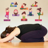 Wall Decals ' Kids Yoga Positions ' Extra Large Size Wall Sticker (Wall Coverage Area - Height 65 cms X Width 120 cms)(Pack of 1)