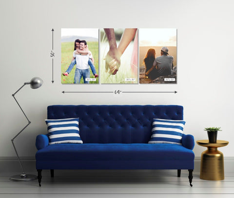 "Personalised Gift for Family Photo Frames Personalised Framed Canvas Set of 3| Size - 30"" x 64"" Thin wrap"
