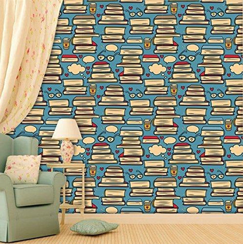 Books Themed Self Adhesive Wallpaper