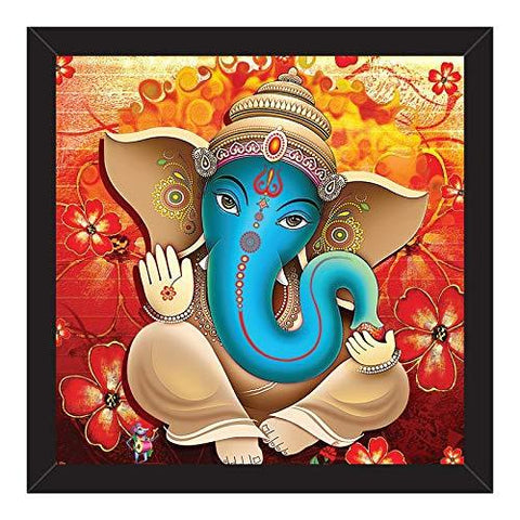 Lord Ganesha Wall Painting Frame-Black Frame Without Glass (12 Inch x 12 Inch)