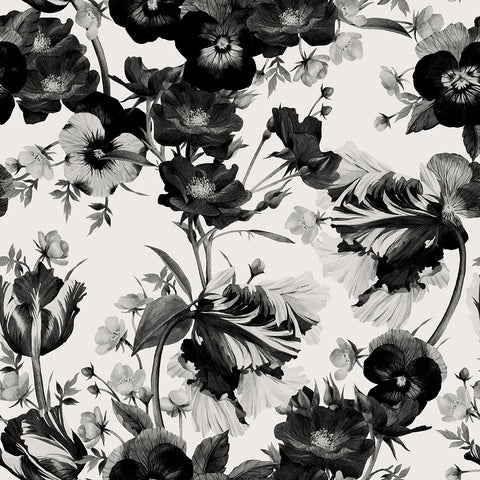 Black and White Floral Design Wallpaper-Beautiful Flower Wallpaper