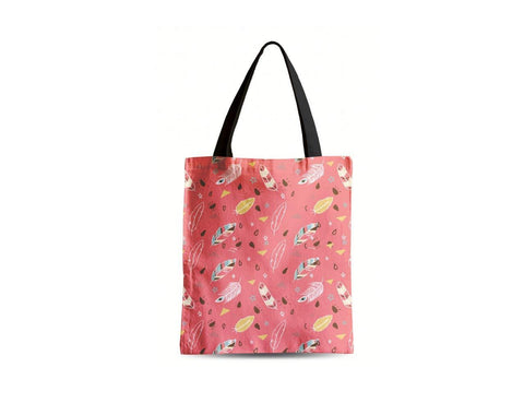 Colourful Feathers Printed Canvas Tote Bags