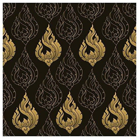 Black and Golden Pattern Self Adhesive Wallpaper