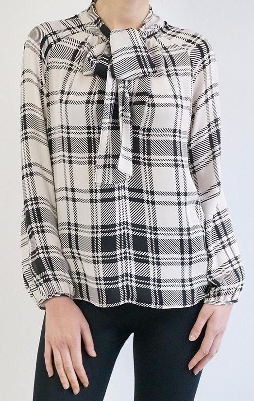 PAIGE BLOUSE (HOUNDSTOOTH PLAID)