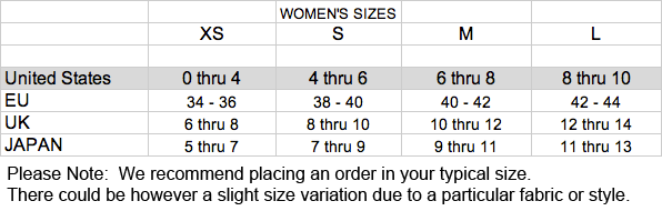 HENGSTNYC Size Chart
