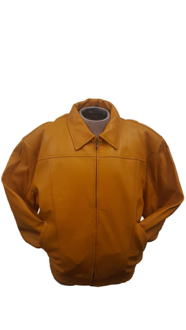 Men's Classic Multi-Season Leather Bomber Jacket  Zip-Out Lining