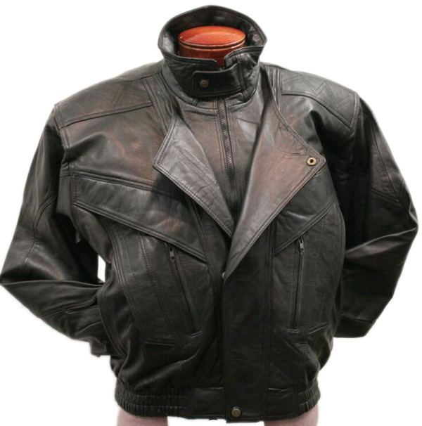 Men's Black Vintage Lambskin Leather Windbreaker Flight Jacket (BIG SIZES AVAILABLE)