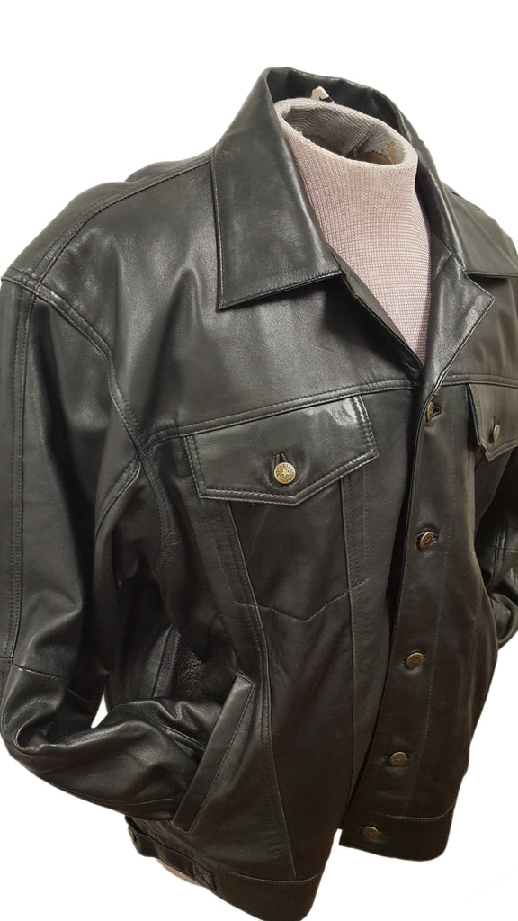 Men's Lambskin Leather Long Sleeves Button Up Dress Shirt