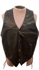 Men's Fringed Thick Cowhide Leather Motorcycle Country Vest with Side Adjustable Laces