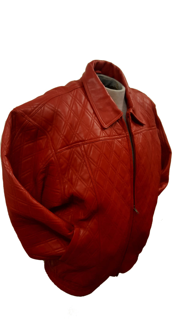 Men's Diamond Quilted Leather Bomber Multi-Season Jacket (BIG SIZES AVAILABLE)