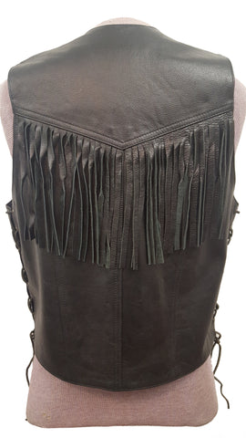 Men's Country Western Cowboy Leather Fringed Vest with Adjustable Laces