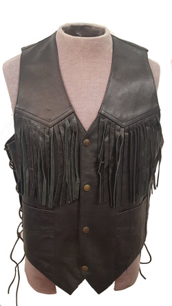 Leather Fringe Western Cowboy Vest lace