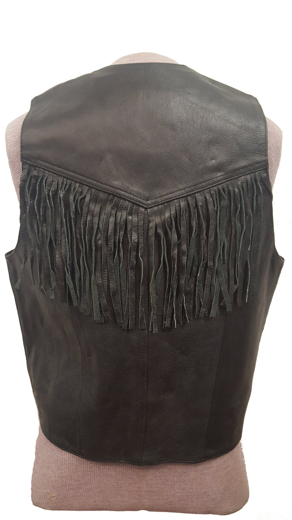 Men's Fringed Cowhide Leather Cowboy Western Motorcycle Vest