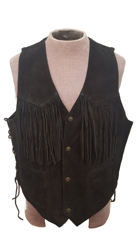 Men's  Country Western Cowboy Suede Leather Fringed Vest with Adjustable Laces