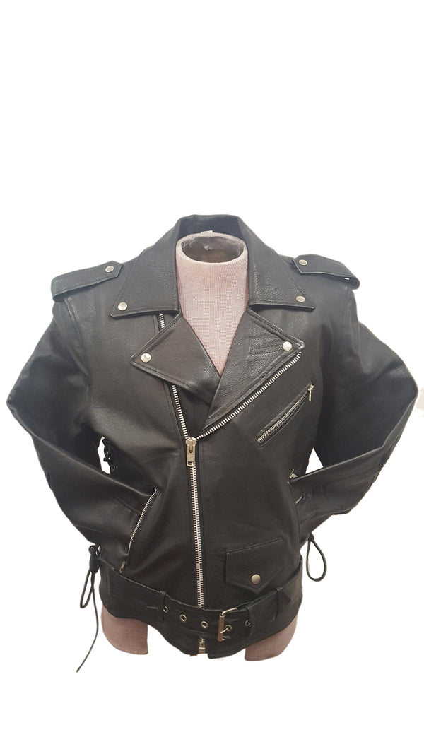 Men's Classic Durable Cowhide Leather Motorcycle Jacket Adjustable Side Lace