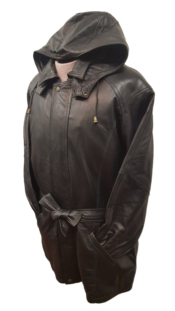Unisex Leather ¾ Parka Multi-Season Belted Jacket With Removable Hood & Zip-out Lining (BIG SIZES & 9 Colors AVAILABLE)