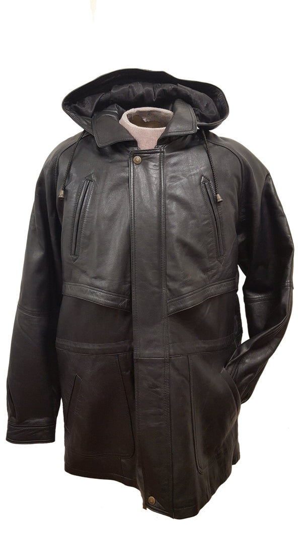 Unisex Soft Leather Belted Parka Hip Hooded Jacket