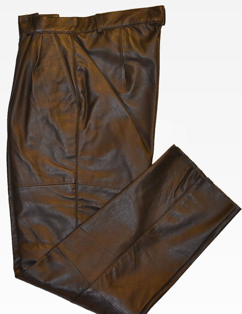 Men's Double Pleated Open Length Leather Dress Pants Slacks Trousers with Elastic Waistband (BIG SIZES AVAILABLE)
