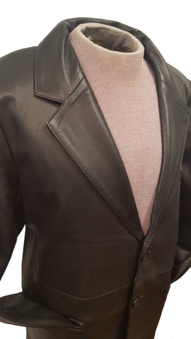 Men's Big & Tall Black Soft touch Sheepskin Leather 2 button Blazer