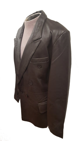 Men's Big & Tall Black Double Breasted Soft Lambskin Leather Blazer