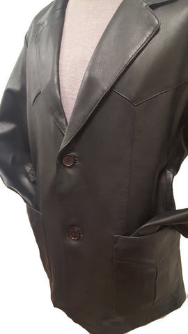 Men's Vintage Cowboy Western Black 2 button Nappa Leather Blazer