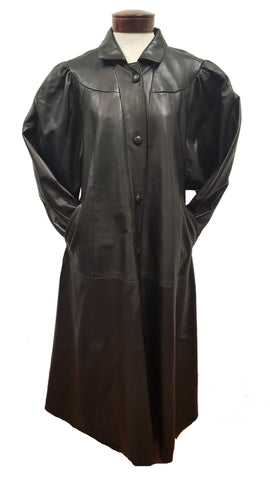 Women's Full Length Soft Leather Swing Coat Plus Size