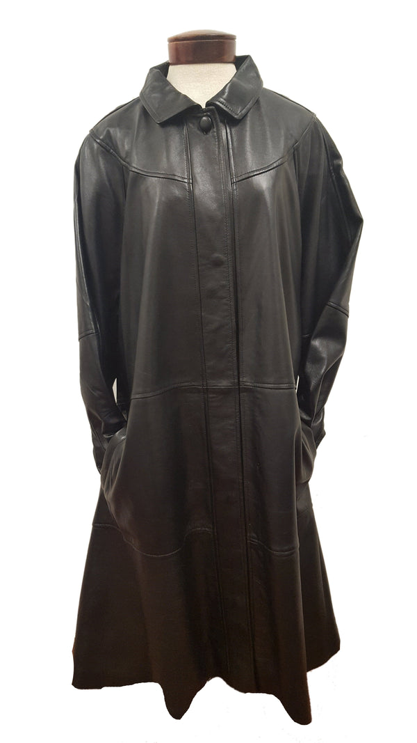 Women's 7/8th Classy Long Black Leather Swing Coat PLUS SIZE AVAILABLE