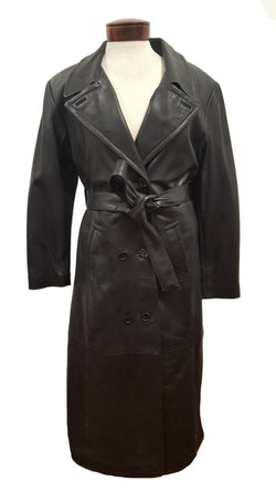 Women's Full Length Long Luxurious Soft Black Leather Double Breasted Belted Long Coat