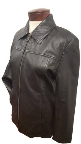 Women's Ultra-soft Black Leather Straight Short Jacket