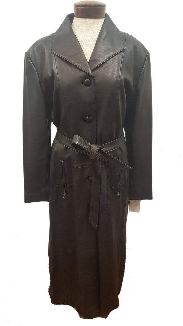 Women's Single Breasted Black Full Length Long Luxurious Button Down Belted Soft Leather Coat