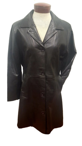 Women's Black 7/8 Soft touch Leather 4 Button Long Coat