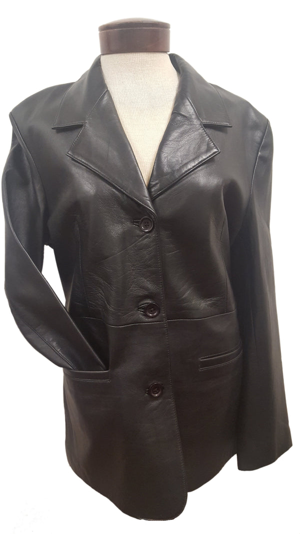 Women's Classic 3 Button Luxurious Black Leather Blazer