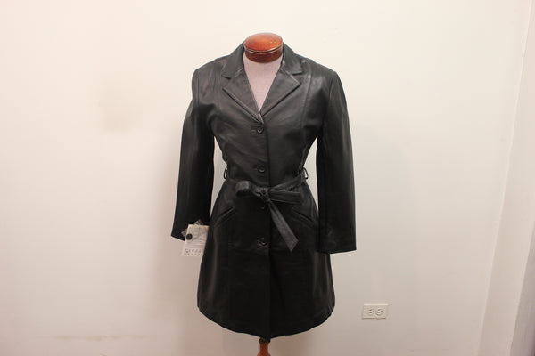 Women's Black Belted Soft Leather Bold ¾ Long Coat