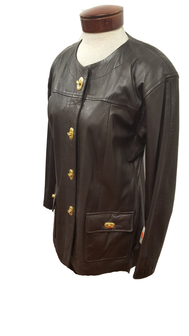 Women's Vintage 4 button Leather Church Suit set with Leather Pants