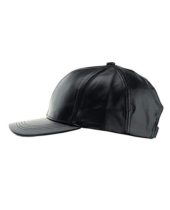 Unisex Lambskin Leather Adjustable Velcro Black Baseball Cap