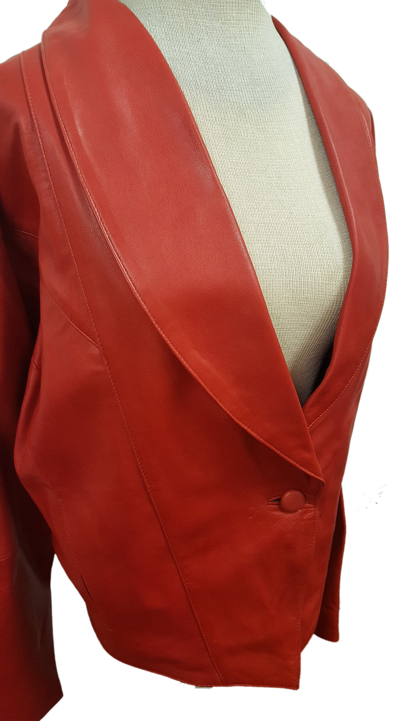 Women's Vintage 1 Button Leather Short Jacket with Leather Pants Church Suit Set