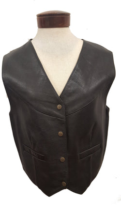 Women's Classic 4 button Solid Cowhide Black Leather Vest