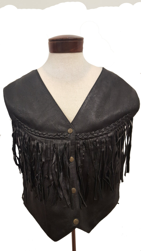 Women's Rodeo Motorcycle Adjustable Side Lace and Fringed Leather Vest