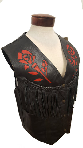 Women's Rodeo Motorcycle Cowhide Leather Vest with Roses and Fringes
