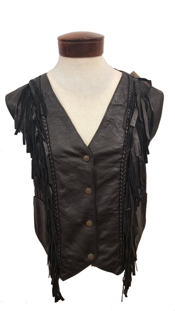 Women's Leather Motorcycle Vest with Fringe Design