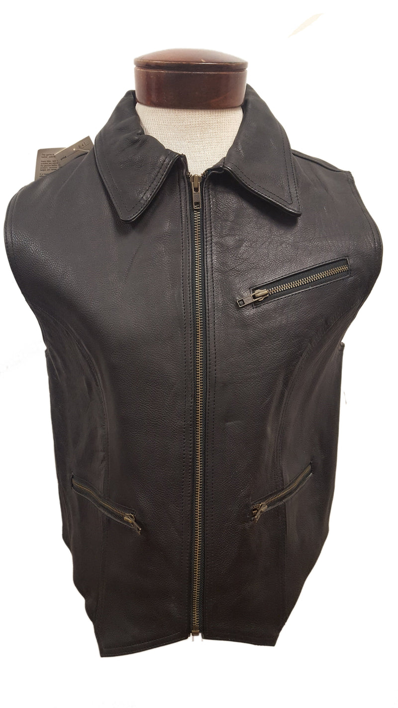 Women's Plain Cowhide Leather Zipper Vest