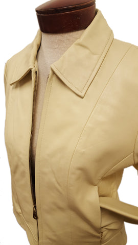 Women's Cute Basic Nappa Leather Short Jacket