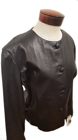 Women's Vintage 4 button Leather Church Suit set with Leather Pant