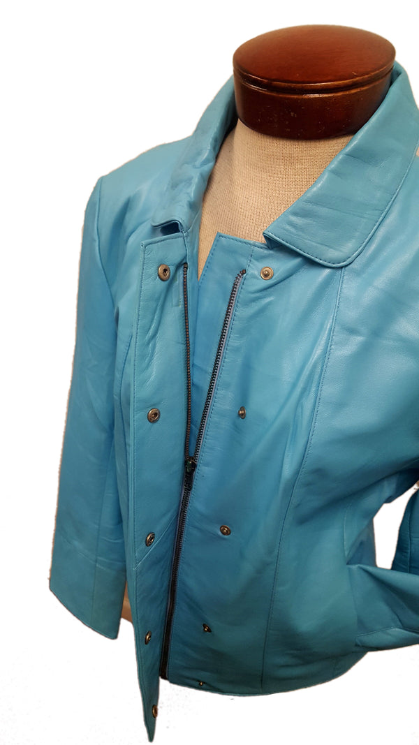 Women's Soft Leather Single Overlap Lapel  Short Exclusive Jacket