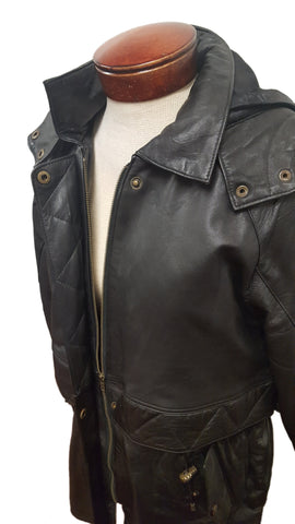 Women's Soft Touch Black Leather ¾ Parka Jacket with Hoodie