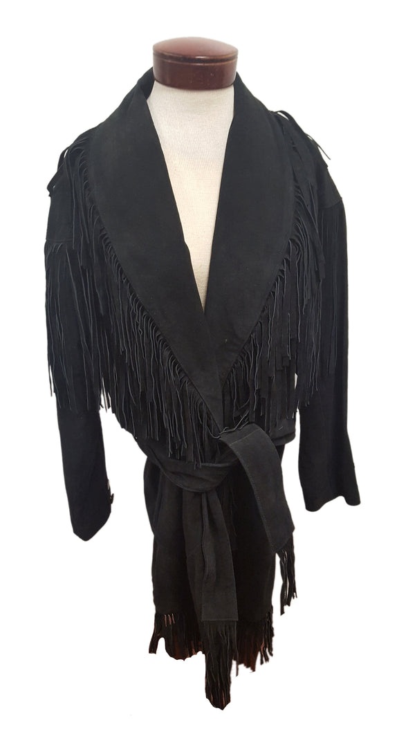 Women's Fringed Suede Leather Vintage Long Coat