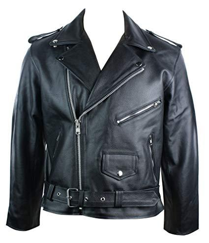 Men's Black Classic Durable Cowhide Leather Motorcycle Jacket (BIG SIZES AVAILABLE)