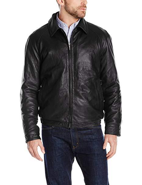 Men's Classic Black Straight Leather Bomber Jacket