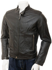 Men's Premium Leather Collarless Biker Jacket